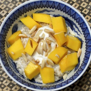 Coconut Oatmeal With Mangos | Something New For Dinner
