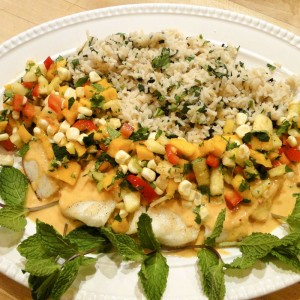Coconut Seabass w/ Tropical Fruit Salsa | Something New For Dinner