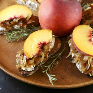 Peach, Caramelized Onion & Goat Cheese Crostini | Something New For Dinner