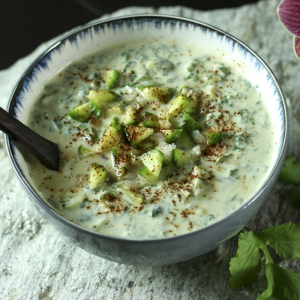 Yogurt Raita With Cucumber & Yellow Raisins | Something New For Dinner