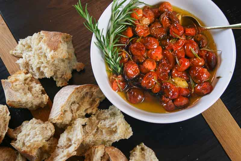 Tomato confit with toasted torn dipping bread | Something New For Dinner